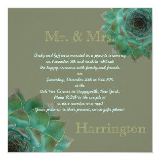 """Post Wedding Succulent Reception Party Invitation 5.25"""" Square Invitation Card"""