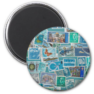 Postage Bleu Collection 6 Cm Round Magnet