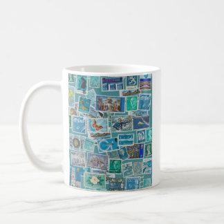 Postage Bleu Basic White Mug