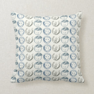 Postage Cancellation Stamp Repeat on Natural Throw Cushion