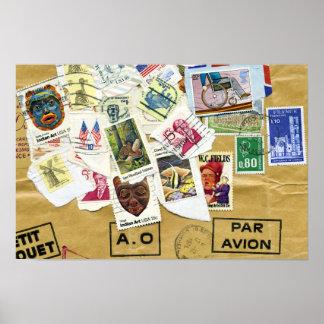 Postage Stamp Collage Par Avion Poster