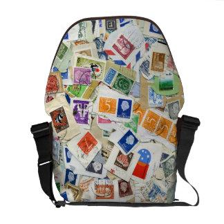 Postage Stamp Collage Travel Messenger Bag
