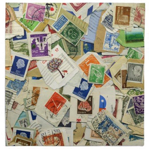 Postage Stamp Collage Travel Napkin Set