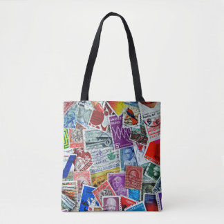 postage stamp collection tote bag