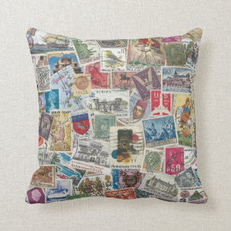 Postage Stamp Travel Accent Pillow Throw Cushion