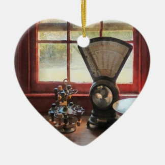 Postal Scale and Rubber Stamps Ceramic Heart Decoration