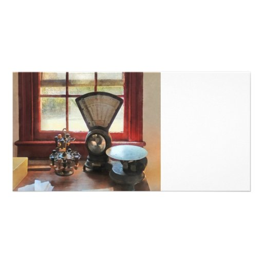 Postal Scale and Rubber Stamps Customized Photo Card