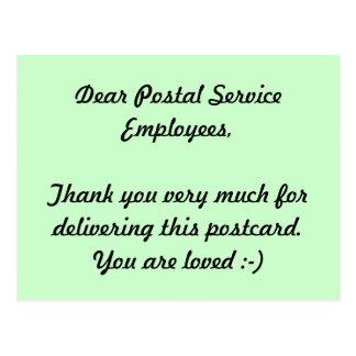 Postal Service Employees Thank you Postcard