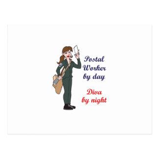 POSTAL WORKER BY DAY POSTCARD