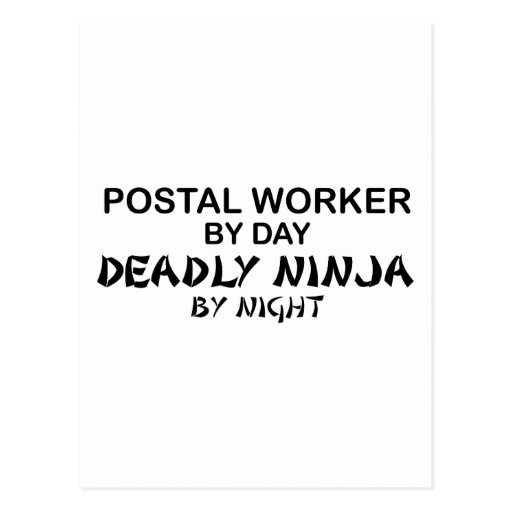 Postal Worker Deadly Ninja Postcard