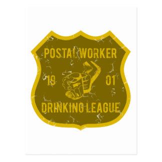 Postal Worker Drinking League Postcard