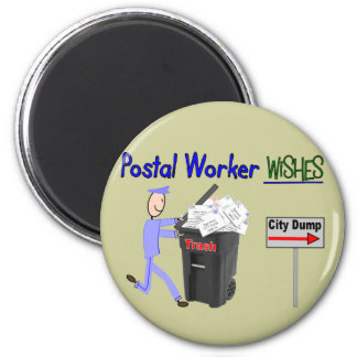 Postal Worker Wishes--Funny 6 Cm Round Magnet