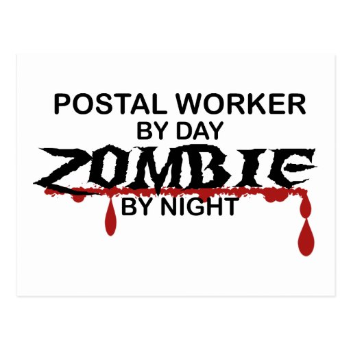 Postal Worker  Zombie Post Card
