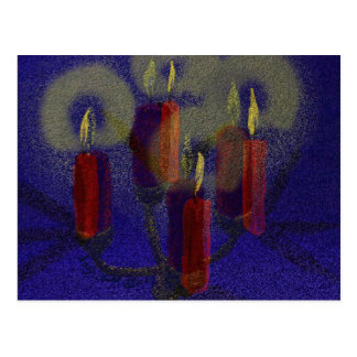 Postcard 4 red candles & blue shiny background