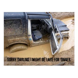 Postcard 4x4 off roader jeep stuck in mud