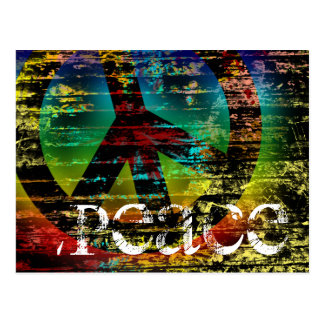 Postcard, Abstract Rainbow Grunge Peace Postcard