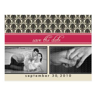 POSTCARD: Baroque Fuschia 2-Photo Save the Date Postcard