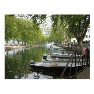Postcard: Boats, Canal, Lake Annecy, France Postcard