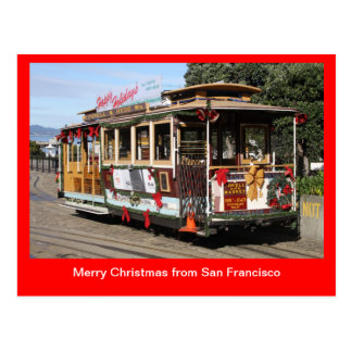 Postcard, Christmas Cable Car, San Francisco Postcard