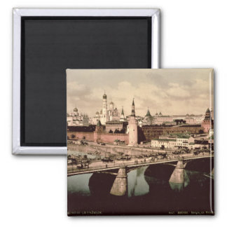 Postcard depicting the Kremlin, Moscow Square Magnet