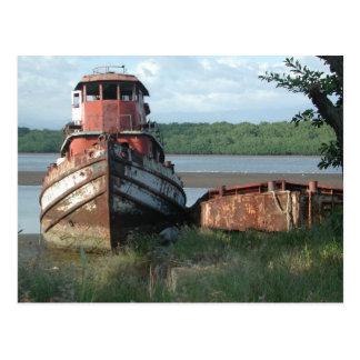 Postcard:  Discarded Tugboat Postcard