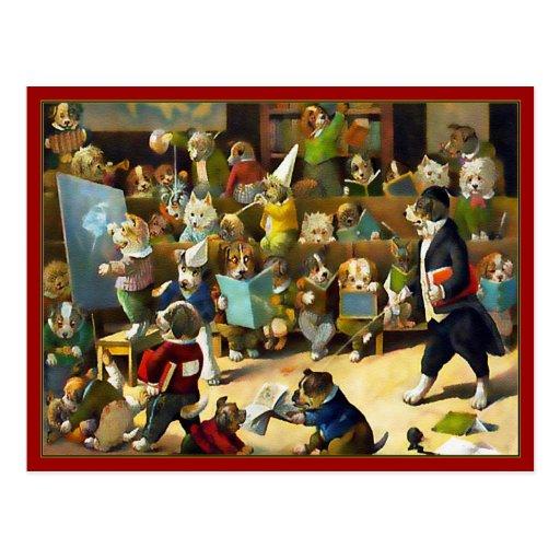 "Postcard: ""Dog School"" by Louis Wain"