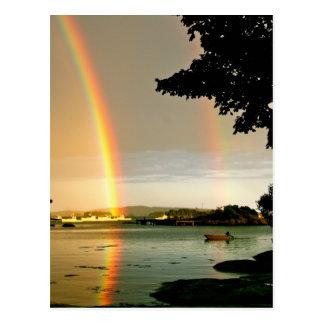 Postcard Double Rainbow Over Water