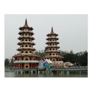 Postcard Dragon and Tiger Pagodas Kaohsiung Taiwan