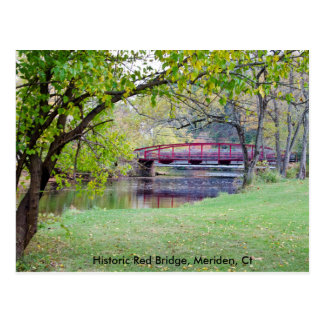 Postcard featuring Red Bridge in Meriden