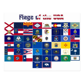 "Postcard ""Flags of the USA"""