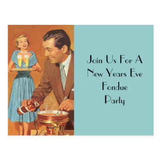 Postcard  Fondue Party Retro Vintage Host Couple