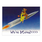 Postcard Fun Retro We've Moved New Address Rocket