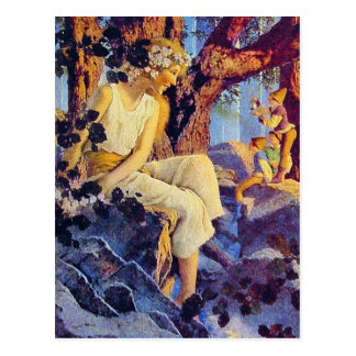 Postcard:  Girl with Elves - Maxfield Parrish Postcard