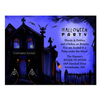 Postcard Invitation - Halloween Haunted House