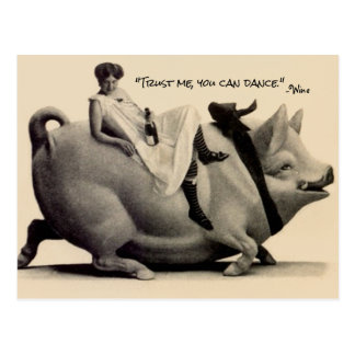 Postcard lady Wine Woman Trust me you can dance