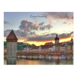 Postcard Luzern Switzerland Old Town Chapel Bridge