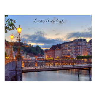 Postcard Luzern Switzerland Reuss River Old Town