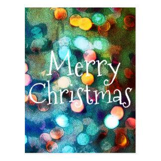 Postcard Merry Christmas Bokeh Blue sparkle lights