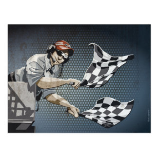 Postcard Motor Racing Checkered Flag