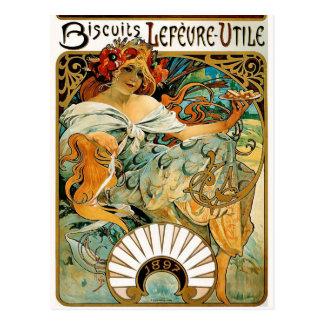 Postcard: Mucha - Biscuits Lefevre Utile Postcard