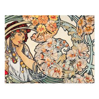 Postcard: Mucha - Language of Flowers Postcard