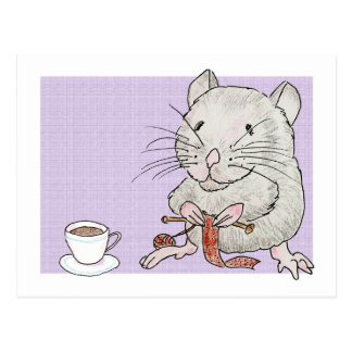 Postcard of a grey hamster knitting a scarf
