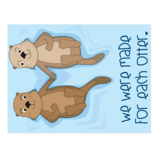 Postcard of Otters Holding Hands