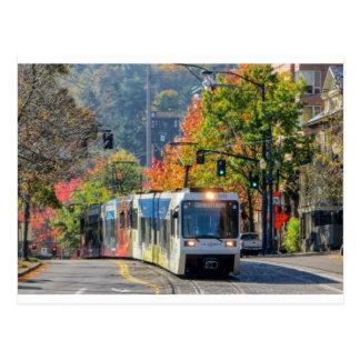 Postcard of Portland, Oregon light rail train