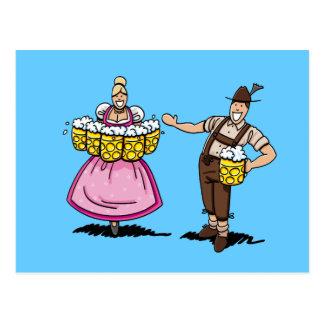 Postcard Oktoberfest Dirndl Waitress Beer Stein