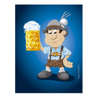 Postcard Oktoberfest Lederhosen Cartoon Man Beer