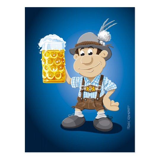 Postcard Oktoberfest Lederhosen Cartoon Man Beer Zazzle Com Au