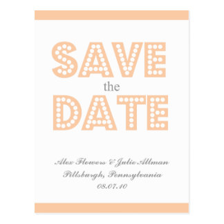 {postcard} peach vintage inspired save the date postcard
