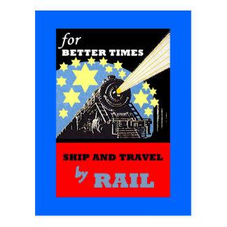POSTCARD PROMO FOR VINTAGE RAILROAD TRAIN TRIPS AD