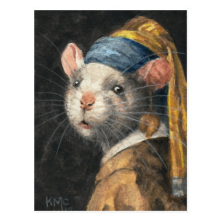 """Postcard """"Rat with a Yogie Earring"""" painting"""